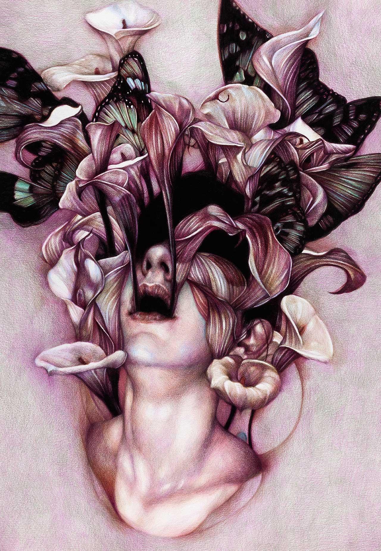 цветы фэнтези карандашом картинки природе выделяю два