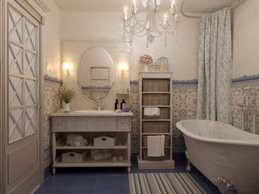 6-french-style-bathroom-interior-design-ideas-light-pastel-colors-romantic-wash-basin-wooden-vanity-unit-bathtub-clawfoot-stripy-rug-crystal-chandelie