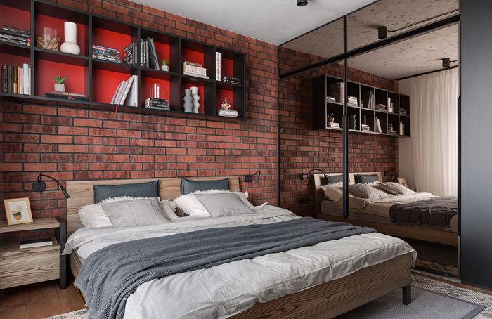 Визауально пространство спальни увеличивают зеркала