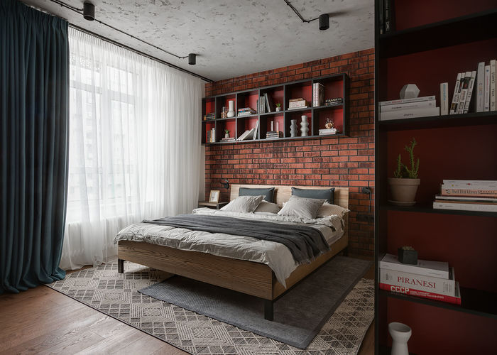 Над изголовьем кровати нашлось место для книжных полок
