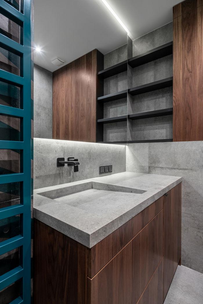 В ванной комнате продуманы зоны хранения